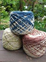 草木染めヘンプウール*2色段染め糸
